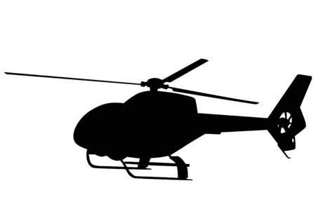 rotor: Silhouette of a large helicopter on a white background