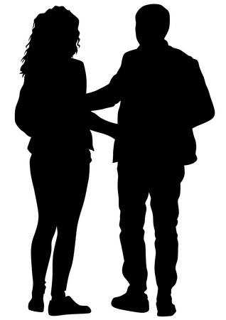 affectionate actions: Couple of young guy and girl on white background