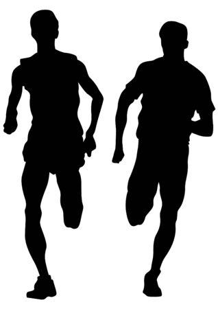 running race: Man athletes on running race on white background