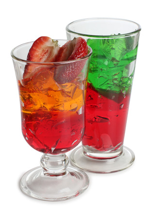 jello: Cocktail in a glass on white background