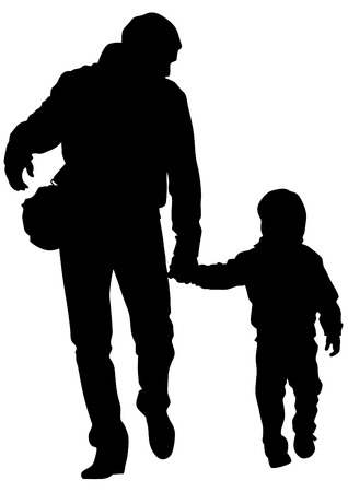 bonding: Father and son out for a walk on white background