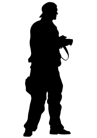 creative shot: Man with a camera on white background Illustration