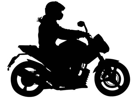 motorized sport: Silhouettes of motorcycl and baeuty women on white background