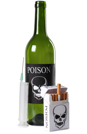Cigarettes, wine and a syringe on a white background