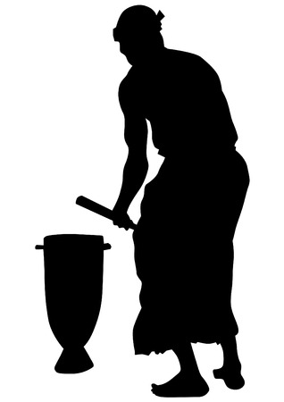 african drums: African musicians with drums on a white background
