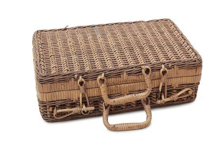 Vieille valise en bois sur un fond blanc Banque d'images - 61031971