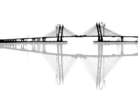 Grand pont moderne sur un fond blanc