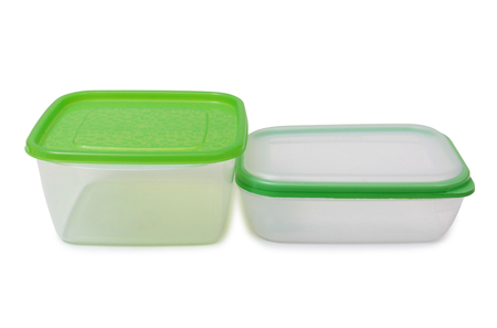 hermetic: Plastic food containers on a white background Stock Photo