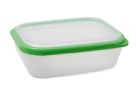 Contenants alimentaires en plastique sur un fond blanc Banque d'images - 62060251