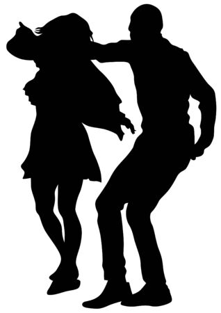jive: Pair of sport dance performers on a white background