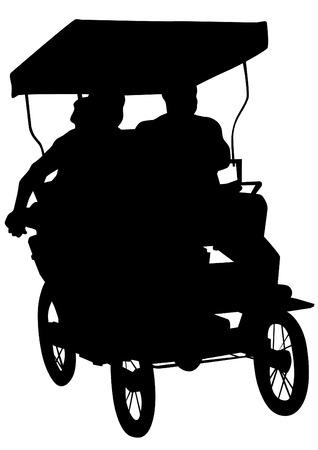 rikscha: Chinesische Rikscha mit Menschen auf einem weißen Hintergrund