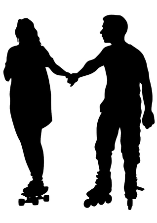 ni�o en patines: Silhouette of boy and girl on roller skates on white background