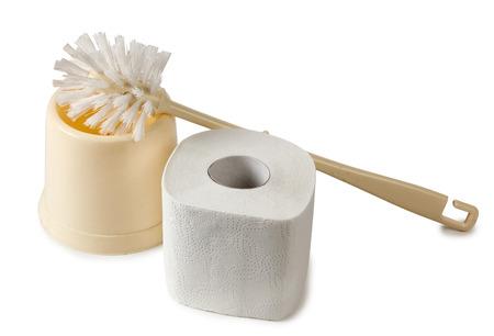 watercloset: Toilet brush on a white background