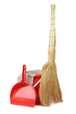 Tools for cleaning on a white background Stock Photo