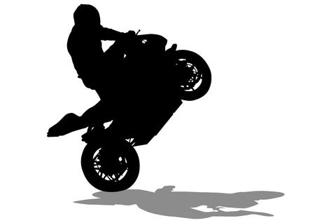 motorizado: Gente y moto deportiva en el fondo blanco Vectores