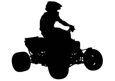atv: Athletes ATV during races on white background