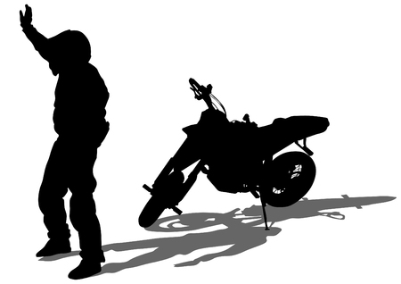 People and sport bike on white background Vetores