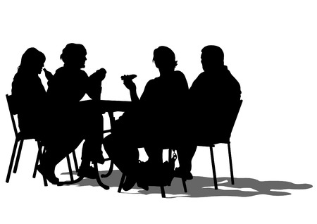 Silhouettes of people in urban cafe Çizim