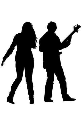 bass guitar women: Concert of rock band on a white background