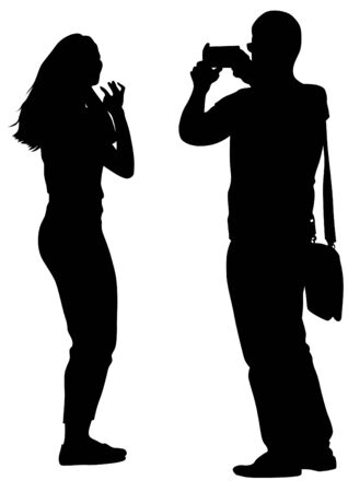 creative shot: Man and women with camera on white background Illustration