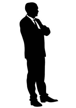 forwards: Businessman in suit on white background