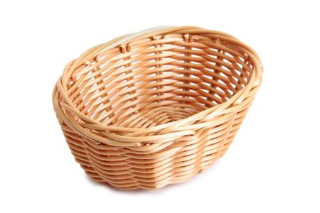 Retro wicker basket on white background