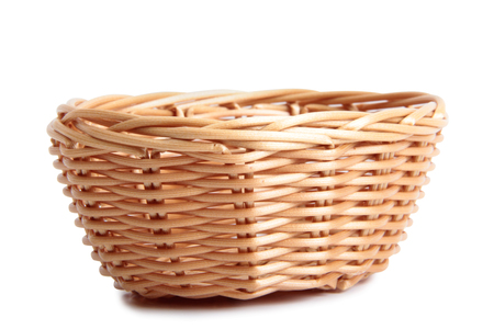 basketry: Retro wicker basket on white background