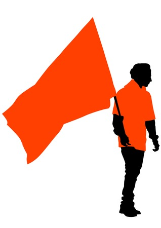 manifest: Man with flags on white background