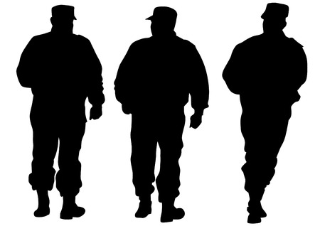 people force: People of special police force on white background