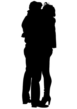 affectionate action: Couple of young guy and girl on white background