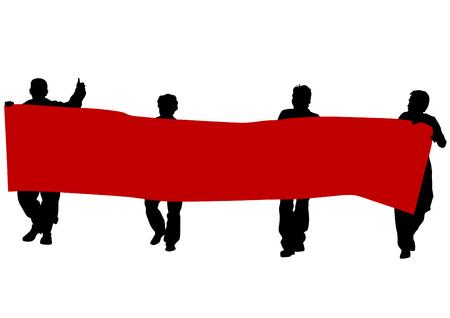 Groupe de personnes avec des drapeaux sur fond blanc