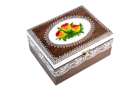 Boîte en bois peint sur blanc Banque d'images - 63141941