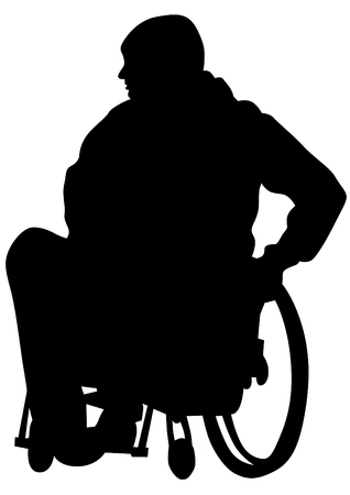 lame: Silhouettes wheelchair and people on white background Illustration
