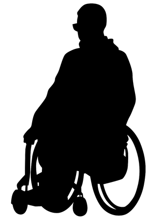 Silhouettes wheelchair and people on white background Illustration