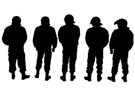 cordon: People of special police force on white background