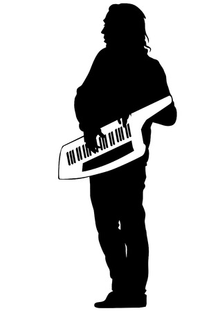 pianista: Pianista de la banda de rock sobre un fondo blanco