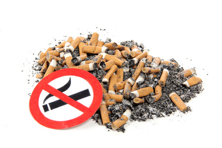 killing cancer: Sign and nicotine sigarette on a white background Stock Photo