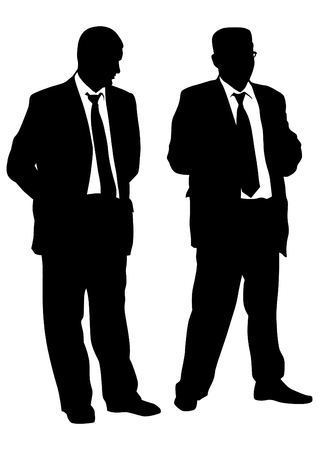 forwards: Businessmen in suits on a white background