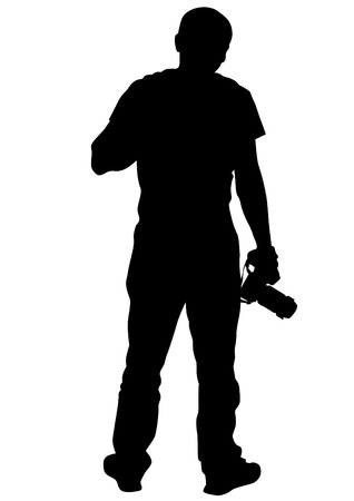 creative shot: Man with a camera on a white background