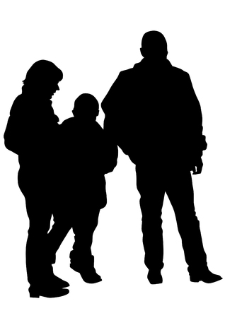 perambulator: Families with child on white background