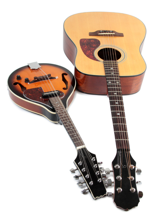 mandolin: Mandolin and guitar in country style on white background