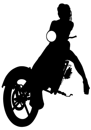 biker girl: Silhouettes of motorcycl and baeuty women on white background