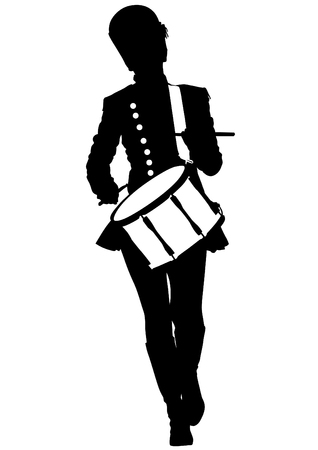 parade: Drum woman at parade on a white background Illustration