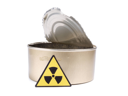Tin and radiation sign on a white background Stock Photo