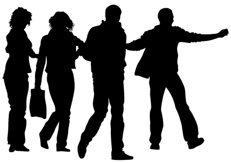 young group: Big crowds people on white background Illustration