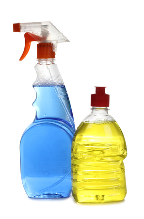 lavar platos: Protective and cleaning products on white background Foto de archivo