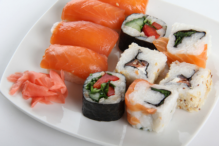 Japanese sushi food on a plate Stock Photo