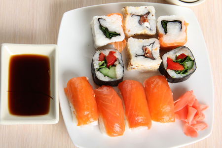 soysauce: Japanese sushi food on a plate Stock Photo
