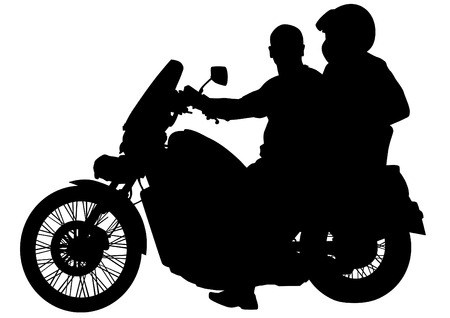 Motorcycl and baeuty women and man on white background Illustration