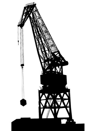 overhead: Cargo cranes in the seaport on white background